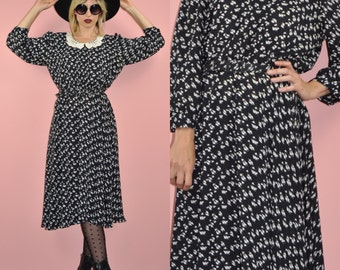 Vintage 80s Black and White French Secretary Embroidered Collar Floral Polka Dot Midi Dress