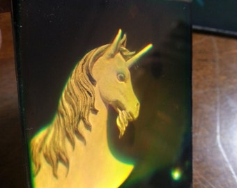 Vintage 1980s Glass Hologram of a Unicorn horse