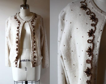 1950s copper beaded cardigan // 1950s sweater // vintage womens