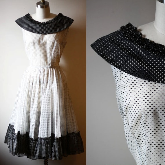 1960s swiss dot dress // black and white dress // vintage dress