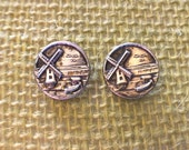 Two Antique Windmill Silver Metal Buttons