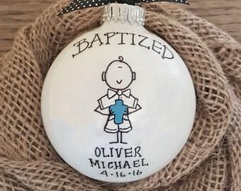 Baptism Ornament, Cross Ornament, Boy Baptism Ornament, Boy Baptism Gift, Personalized Baptism, Christmas Baptism Ornament, Baptism Gift