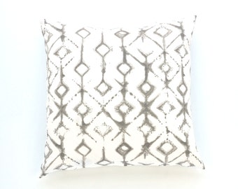 "Tribal Print Pillow Cover, White & Gray Throw Pillow, Neutral Decorative Pillow Cover, 20"" x 20"""