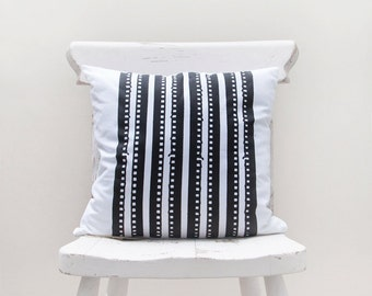 Black Lines / Hand Screen Printed Cushion Cover - by Mileseed