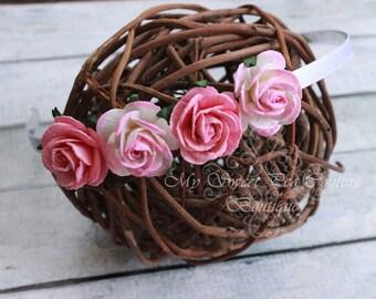 Pink Ombré Rose Flower Headband- Paper Flower Headband - Hard Headband - Girl Headband - Pink Headband- Flower Girl Headband- Photo Prop