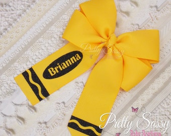 Back to School Personalized Hair Bow, Crayon Hair Bow, B2S,  Pinwheel Bow, Yellow Bow, Black and Yellow Bow