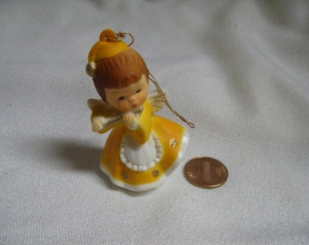 Vintage 60s Angel Hard Plastic Kitsch Flute Musician Bright Yellow MCM Miniature