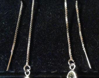 Natural Rare Green Beryl Sterling Silver Earrings