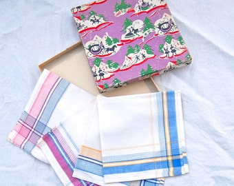British 1940's Vintage - CC41 - WW2 utility clothing - 4 Handkerchiefs in a Gift Box - Christmas gift