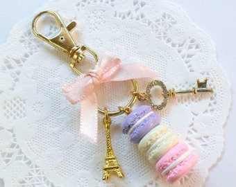 ON SALE Pastel Macaron Trio Eiffel Tower Keychain, Purse or Bag Charm, Cute And Kawaii :D