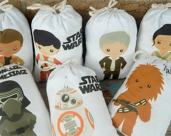 """Birthday Favor bags Star wars Group 2 Great for treats or gifts Personalized 5"""" X 7"""" OR 6"""" X 8"""" Qty 7"""