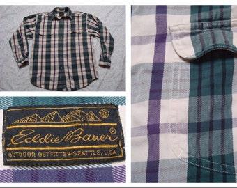 Vintage Men's Eddie Bauer Flannel Shirt Black Purple Green White Elkhorn Twill Plaid Flannel Long Sleeve Buttonup Shirt Cotton Medium
