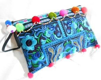 Clutch Wristlet Bag Embroidery Black Fabric w/ pom poms & tassels Chinese Hilltribe Thailand (KP1057.)