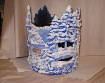 "Village Hurricane, Blue,  8 1/2 "" T  x  8"" wide,  Hand painted by Joan Davis"