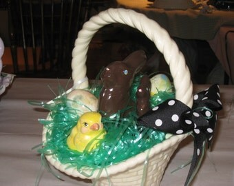 """Ceramic Easter baket hand painted by Joan Davis, 9 1/2"""" high, filled with goodies"""