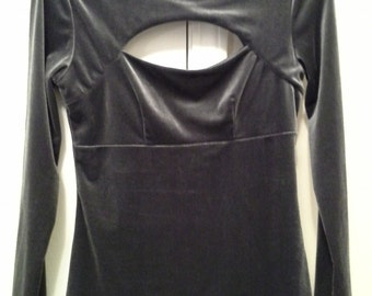 Grey Velvet Double Keyhole Top