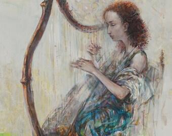 "Original art, acrylic painting, Figurative, Forgotten Irish Melody, 40""x 30"" (100cmx75cm), acrylic on canvas, by Grigor Malinov"