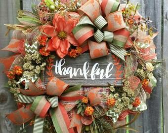 Fall floral wreath, Fall wreath, Thankful sign, Fall font door wreaths, Fall decor, Thanksgiving wreath, Thanksgiving decor, Autumn wreath