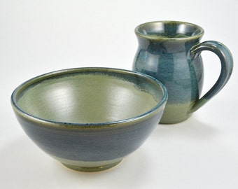 Breakfast Set, Pottery Coffee Mug & Bowl, Handmade Stoneware Clay Green Blue