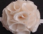 """2"""" - 3"""" Handmade CREAM COLORED Fabric Flower Romantic Shabby Chic Curtain Tie Back Ornament Hair Bow Cottage Chic French Chic Rosette Flower"""