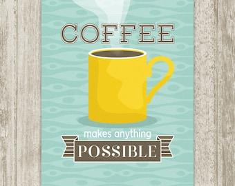 Coffee Print, Coffee Wall Art, Coffee Poster, Coffee Printable Retro Kitchen Decor, Yellow Aqua Brown Kitchen Print, Instant Download