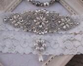 Wedding Garter ,Rhinestone and Crystal Garter Set ,Lace Bridal Garter ,Pearl Wedding Garter Set , Garter , Rhinestone Applique Garter
