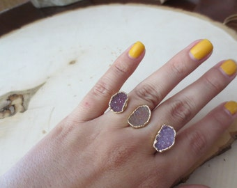 Druzy ring, purple druzy ring, triple druzy ring, double band ring, double band druzy ring, druzy gold ring