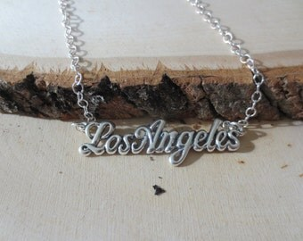 Los Angeles necklace, LA necklace, silver city name charm necklace, California city necklace