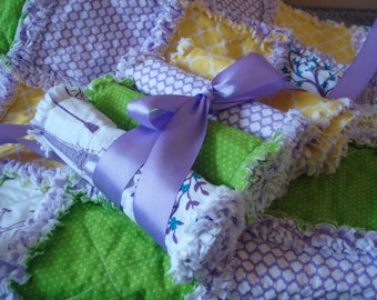 Enchanted Rag QUILT and BURP CLOTHS /Paris in Spring Series Shabby Chic Style