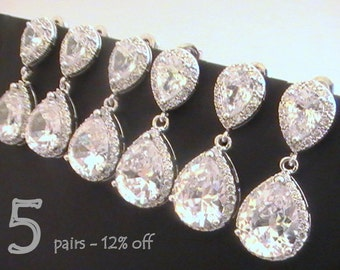 Set of 5 12% Off Bridesmaid Gift, Bridesmaid Jewelry Set, Crystal Earrings Wedding Jewelry Maid of Honor Gift for Bridesmaids Cubic Zirconia