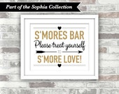 INSTANT DOWNLOAD - SOPHIA Collection - Printable S'mores Bar Wedding Sign - Bridal Shower - Digital File 8x10 - Gold Glitter Effect Black