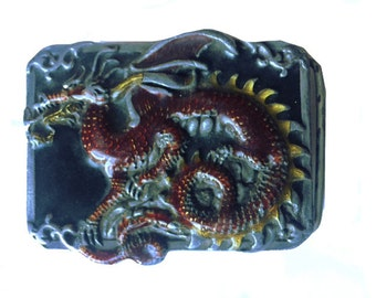 Vintage Dragon Belt Buckle - Monster - Gift Idea - Serpent - Chinese - Fire Breating