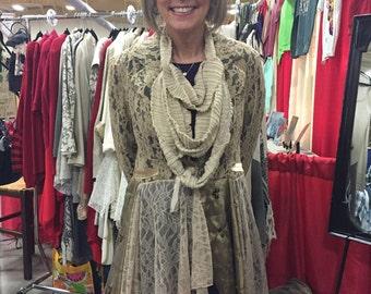 lace jacket dress vintage  Lace. Lagenlook OOAK Romantic Gypsy Festival Upcycled Wearable Art boho chic bohemian