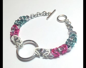 Trans Pride Charity Chainmaille Bracelet - Byzantine