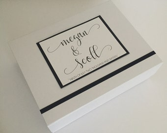 Wedding Anniversary Keepsake Box | Handmade Modern Calligraphy Couple's Memory Box