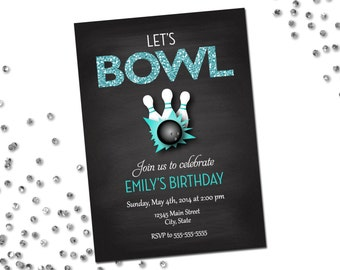 Bowling Party Invitation - Let's Bowl - Turqouise Glitter and Chalkboard - Printable