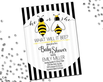 He or She What Will It Bee Invitation - Gender Reveal Invitation - Bumble Bee - He or She - Bow Tie Crown - Black White Stripes - Printable