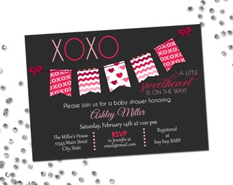 Valentines Baby Shower Invitation - Little Sweethears - XOXO - Grey Pink and Red - Printable
