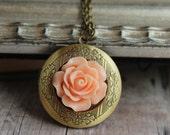 Peach Flower Brass Locket Necklace Peach Floral Keepsake Photo Locket Jewelry Engraved Locket Round Locket Peach Flower Gift for Her