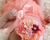 coral peach baby girl outfit, baby romper,petti romper,baby headband,first birthday photo outfit,headband and lace petti romper