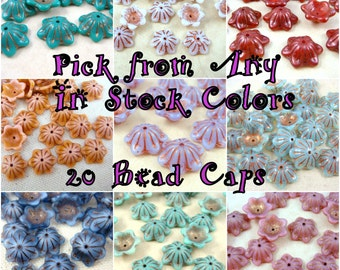 Czech Beads, Bell Flower Bead Caps, Glass Flower Beads - Assorted Colors , You choose from In Stock Colors (BC/RJ-Asst) - 12mm - Qty. 20