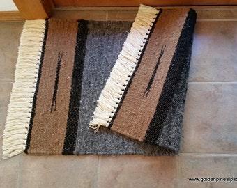 Alpaca Woven Area Rug 2x3 plus Fringe Earth Tones