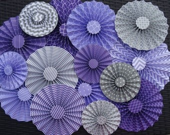 "Set of 15 Large 12"" / 9"" / 6"" Paper Rosettes/Fans - Purple, Lavender and Light Gray"