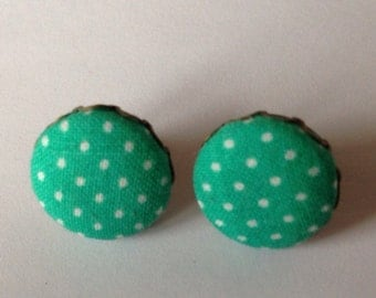 Green and White Polka Dotted Stud Earrings