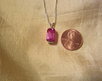 Petite Bright Pink Lab Sapphire Pendant