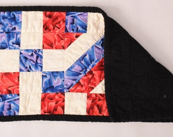 "Red, White, Blue,  Table,  Runner, Handmade, Quilted, Table, Decor, 4th of July, Independence, United States,  10"" x 23"""