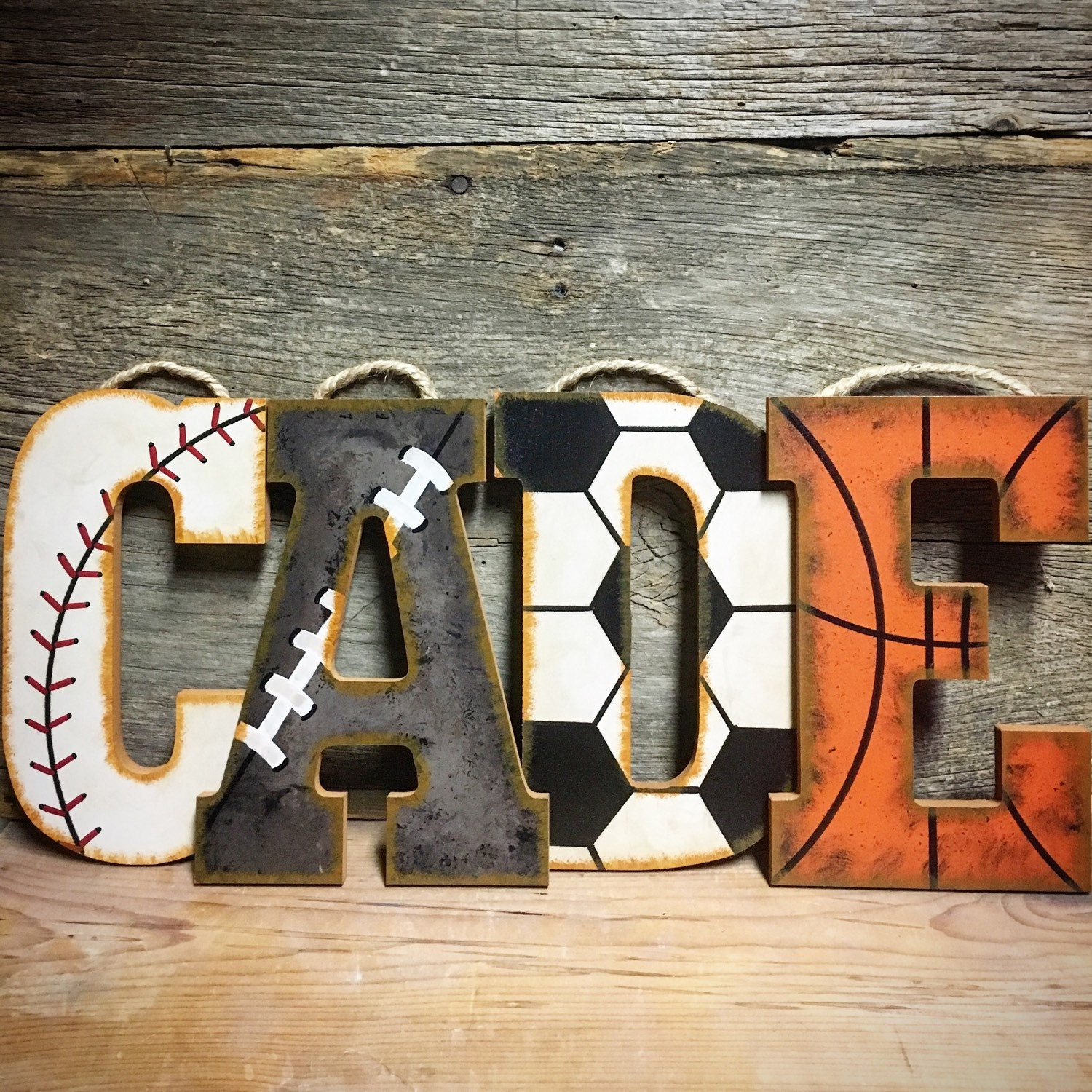 Sports Letters-Hand Painted Wall Letters-Wood Nursery