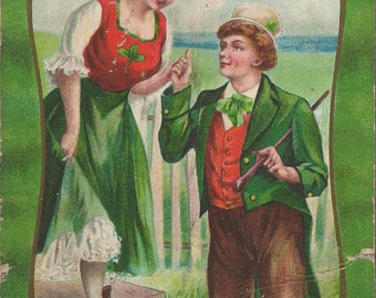 Antique Saint Patrick's Day Postcard Great Supplies for Scrapbook and Crafting Artisans