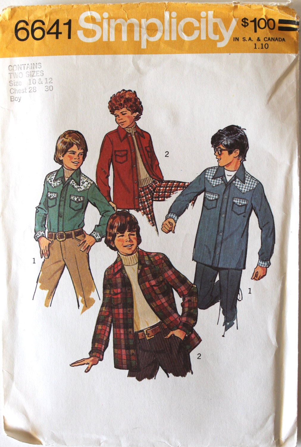 Vintage 1970s boys button down western shirt sewing pattern vintage 1970s boys button down western shirt sewing pattern simplicity 6641 size 10 and 12 jeuxipadfo Images