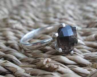 Smokey Quartz Solitaire Sterling Silver Ring Size 7